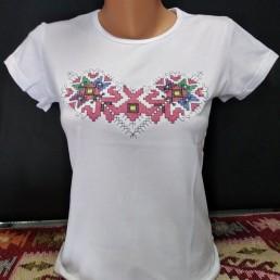 Етно Дамска Тениска Бяла