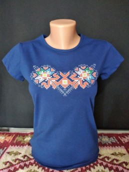 Синя Етно Дамска Тениска