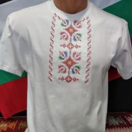 Етно Мъжка Тениска Бяла