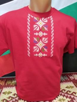 Етно Мъжка Тениска Червена