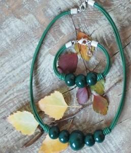 Комплект Дамско Бижу Керамични Топчета Зелено