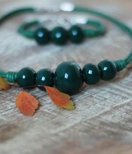 Комплект Дамско Бижу Керамични Топчета Зелено 2