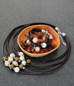 Комплект Дамско Бижу Колие и Гривна с Керамика