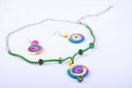 Комплект Дамско Бижу Цветно Стъкло