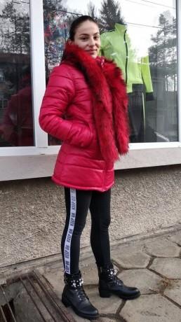 Зимно Дамско Яке Качулка Топъл Шал 2