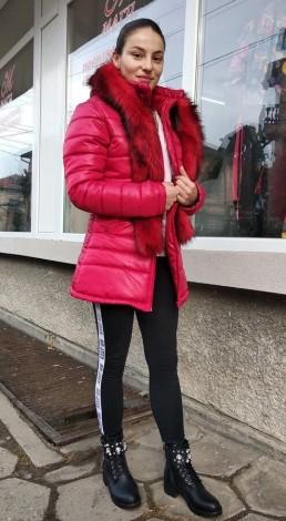 Зимно Дамско Яке Качулка Топъл Шал 4
