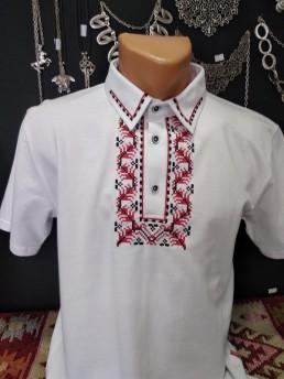 Мъжка-етно блуза - бяла
